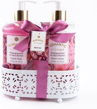 Badset Romantic Vintage in metalen mand Pomegranate & Shea butter
